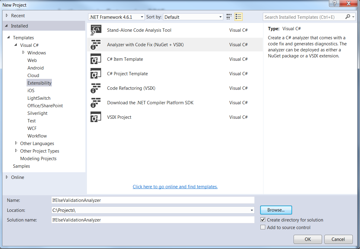 New Project Windows